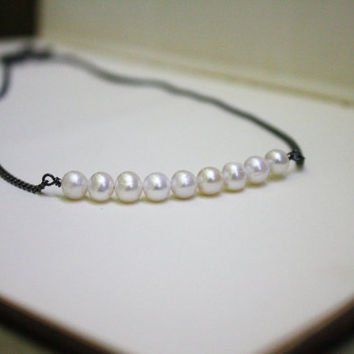 Freshwater Pearl Necklace on Gunmetal Chain