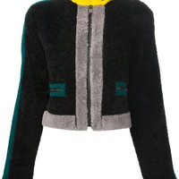 Fendi contrast cropped shearling jacket