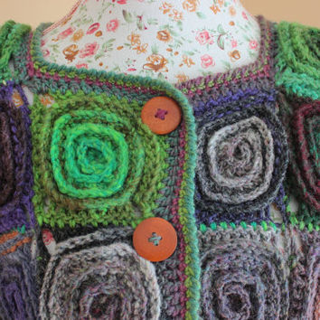 Handmade Knit Crochet Colourful Volumetric Spiral Motif cardigan/Plus size Coat/ Cardigan / Knit cardigan/Knit Wool cardigan/Women Cardigan