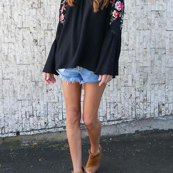 Black Patchwork Lace Floral Embroidery Cut Out Off Shoulder Long Sleeve Mexican Blouse