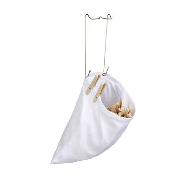 Honey-Can-Do™ DRY-01313 Hanging Cotton Clothespin Bag w/ Metal Hanger, White