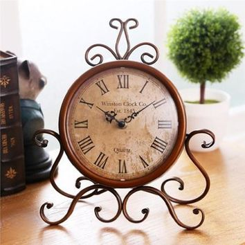 European Style Antique Wrought Iron Craft Table Clock for Home Decoration