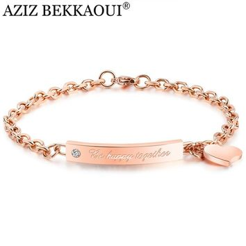 AZIZ BEKKAOUI Diy Heart Pendant Bracelet Rose Gold Be Happy Together Bracelets For Women Engrave Name Jewerly Prevent Allergy