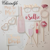 Chicinlife 10pcs/lot Bachelorette Party Team Bride Photo Booth Props Hen Party Girls Night Out Wedding Bridal Shower Decoration