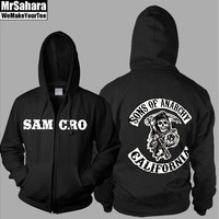 Sons of Anarchy Samcro Thickening Cotton-padded Jacket SOA Winter Warm Hoodie Flannel Coats Soft Comfort Cashmere Sweatshirts [8834072972]