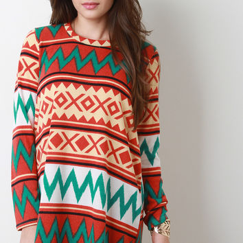 Tribal Long Sleeves Mini Shift Dress