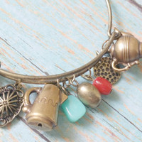 Teapot Charm Bracelet / Coffee Lover Jewelry / Sewing Machine Gifts / Coral Turquoise Beads / Brass Bracelet / Retro Style Jewelry