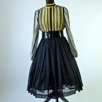 Vintage 60's Mod Howard Wolf Yellow and Black Striped Victorian Style Full Skirt Dress with Belt