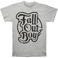 Fall Out Boy Men's  Script Slim Fit T-shirt Heather Rockabilia