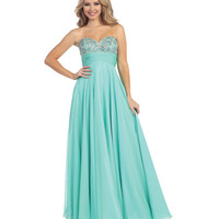 Mint Sweetheart Beaded Empire Waist Strapless Chiffon Dress 2015 Prom Dresses