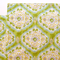 Large Cloth Placemats - Set of 2 - Rich Green and Yellow Ikat -  Reversible