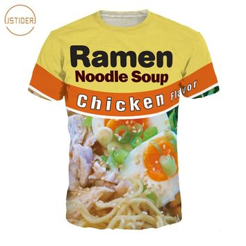 ISTider Funny T Shirts Beef/Chicken Flavor Ramen Noodle Soup Foods T-Shirt 3D Clothing Men Women Summer Streetwear Camiseta