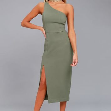 Finders Keepers Haunted Olive Green One-Shoulder Midi Dress