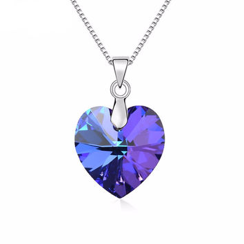 Classic Heart Swarovski Elements Pendant Necklace - Available in Different Colors