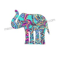 Lilly Print Elephant Decal - Cute Custom Sticker for Car Laptop Ipad - Many Prints Available - Sorority Decal - Alabama Fan Decal