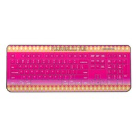"Chic hot pink ""jeweled border art"" personalized wireless keyboard"