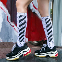 Off White Fashion New Stripe Women Men Sports Long Socks Three Pairs Of Socks Suit