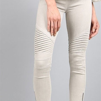 Moto Leggings - Light Grey