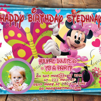 Minnie Mouse Birthday Invitation with Your Photo