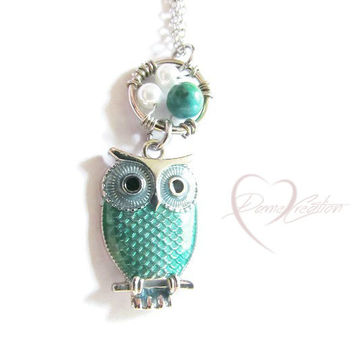 Green Owl Necklace - Owl Jewelry - Cute Owl - Stocking Stuffers for Women - Chryscolla Necklace - Gifts for Girls - Teen Gift - Owl Pendant