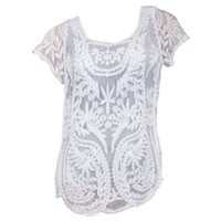 S-ZONE® Women Plus Size Embroidery Crochet Floral Tee Top Lace Hollow Out Blouse