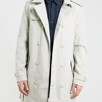 STONE FULL LENGTH DOUBLE BREASTED TRENCH COAT - New This Week - New In - TOPMAN USA