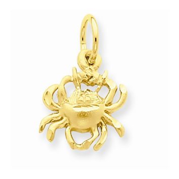 14k Yellow Gold Cancer Zodiac Charm Pendant