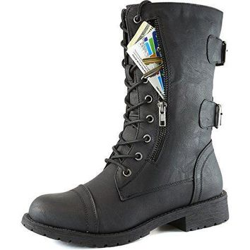 DailyShoes Women's Military Lace Up Buckle Combat Boots Mid Knee High Exclusive Credit