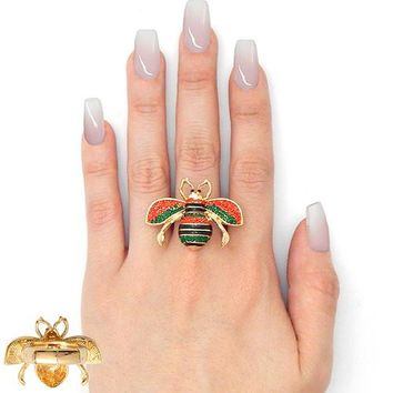 """1.30"""" crystal bee stretch ring"""