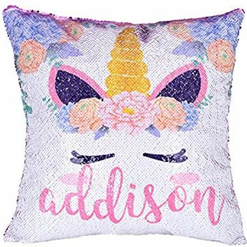 Xiaowli Personalized Unicorn Sequin Pillow, Custom Mermaid Pillow Reversible Sequin Pillows Unicorn Gifts for Girls (A Unicorn-Purple)