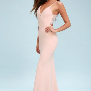 Love Story Blush Backless Lace Maxi Dress