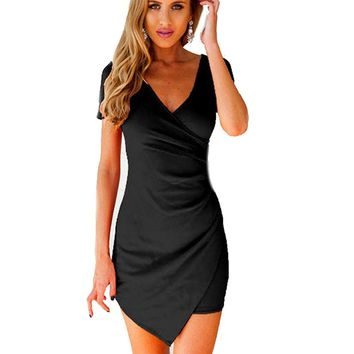 Women Summer Slim Fitted Bodycon Mini Dress Wrap Dress Evening Party Dresses