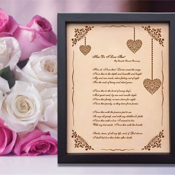 Lik36 Leather Engraved Wedding Third Anniversary gift love poem declaration of love