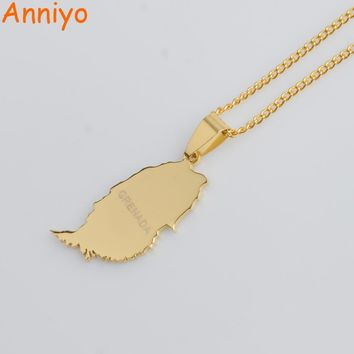 Anniyo Gold Color Small Grenada Island Map Pendant and Thin Chain Necklaces for Women Jewelry Gifts #012121