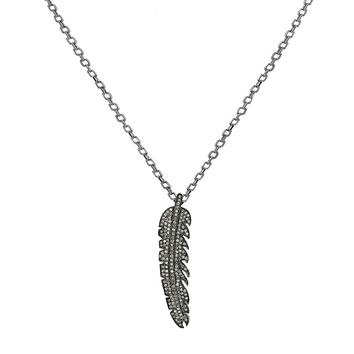 1.15ct Diamonds in 925 Sterling Silver Leaf Feather Pendant Charm Necklace