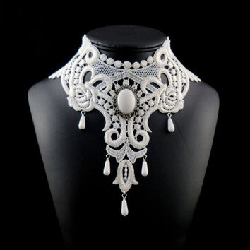 Victorian White Bib Necklace Choker, Elaborate with Jade Stone, Teardrop Beads - Bridal, Wedding, Jewelry, Photo prop, Costume