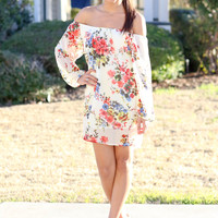 Off the Shoulder Floral Dress - Ivory