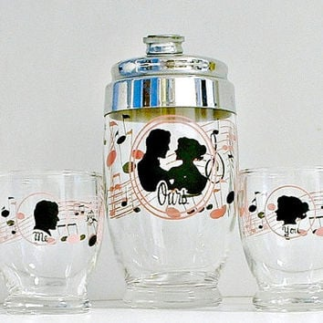 You Me Ours Cocktail Shaker Glass Set Mid Century Vintage Barware Mr.  Bartender Japan