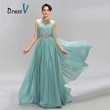 DressV Mint Blue Jewel Neckline Chiffon Long Evening Dress A-Line Floor Length Beaded Ruffles Prom Dresses Formal evening dress
