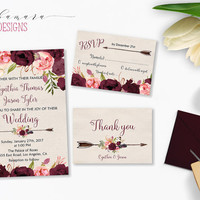 Wedding Invitation Marsala Burgundy Pink Peonies Printable Wedding Invite Floral Wedding Suite Bohemian Flowers Digital Invite Set - WS015