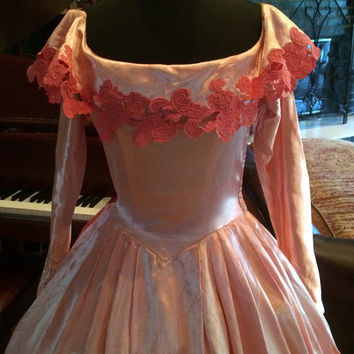 Vintage Wedding Gown/ Ballgown.....Satin Fabric...Heavy Laces...Dyed Pink 34/28/Free Hips!!!