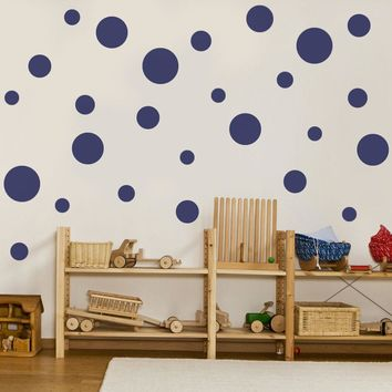 23 Multi sized Solid Dot Wall Decals available in 12 Colors
