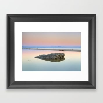 """Walking...."" Pink sunset at the sea. Framed Art Print by Guido Montañés"