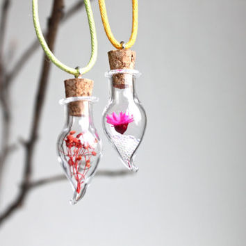 Handmade delicate real flower glass terrarium pendant necklace with waxed cotton cord, tiny natural glass pendant, Valentine's gift idea.