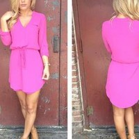 Pink Long Sleeve Dress with Drawstring Waist & V-Neck