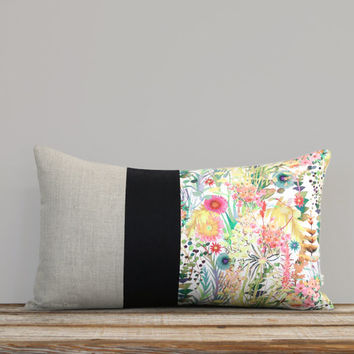 LIMITED EDITION: Abstract Floral Liberty Print Pillow Cover by JillianReneDecor - Watercolor Flowers - Spring Home Decor - Lumbar Pillow