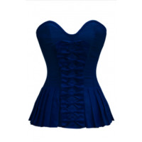 ND-042 - Dark Blue Bow Front Corset with Pleated Sides