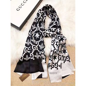 GUCCI Women Fashion New More Letter Bee Star Print Personality Scarf Black No Box