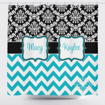 Damask and Chevron Shower Curtain - Black and Turquoise Shower Curtain - Girls Bathroom - Sisters Bathroom