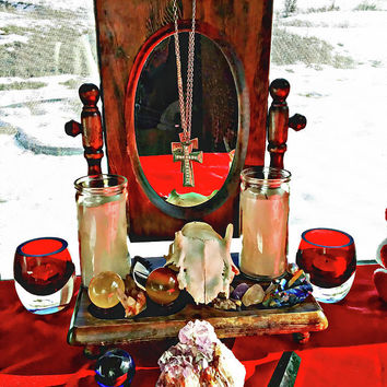 The Ritual Mirror Candles Deer Skull Still Life Photography